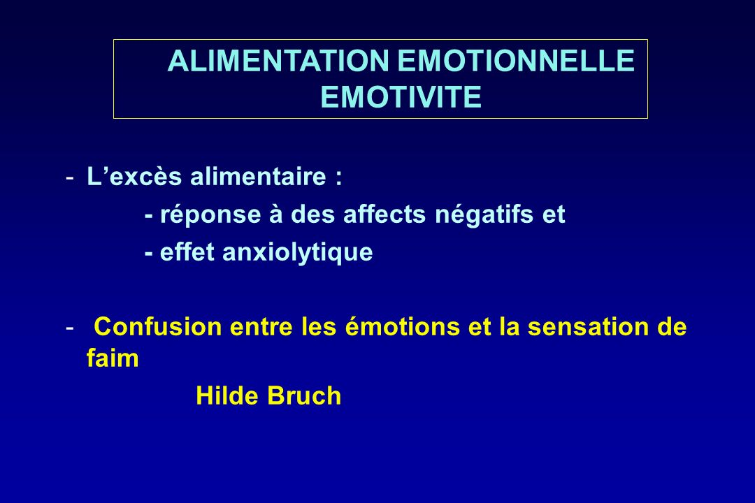 ALIMENTATION EMOTIONNELLE