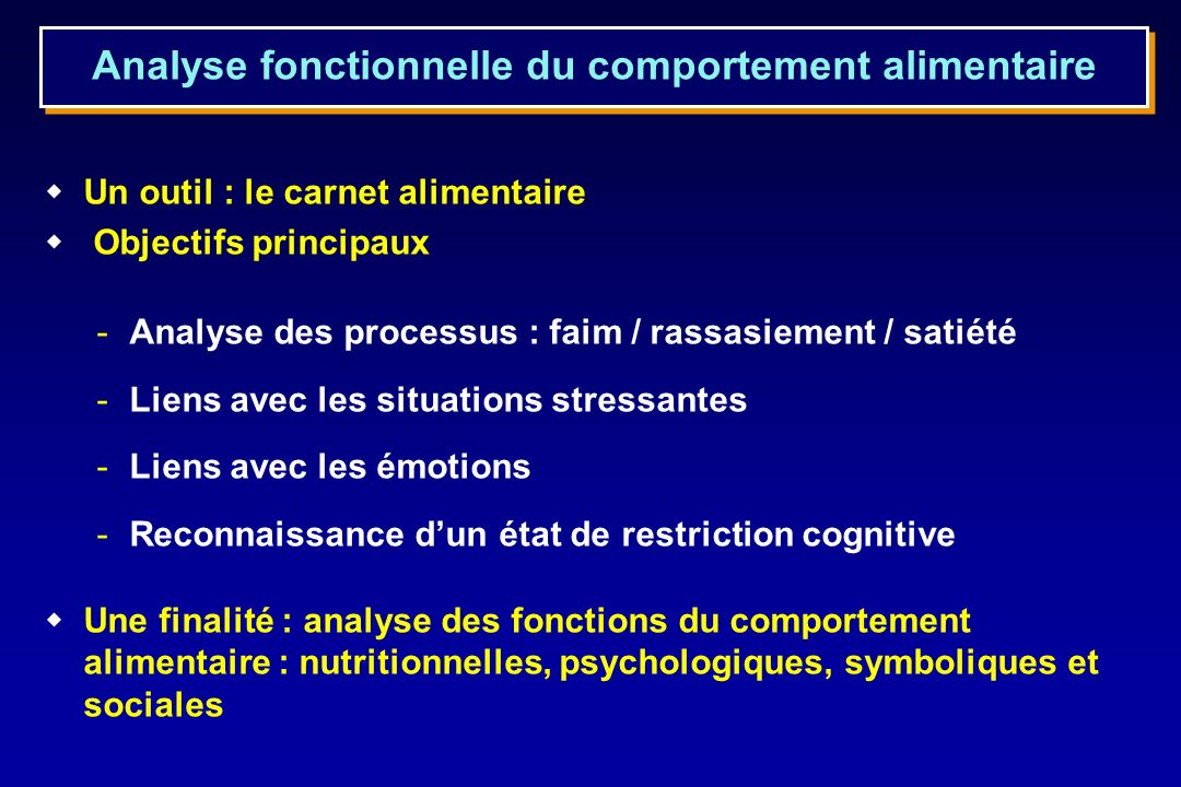 Analyse fonctionnelle du comportement alimentaire