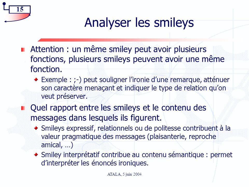 Analyser les smileys Attention : un même smiley peut avoir plusieurs fonctions, plusieurs smileys peuvent avoir une même fonction.
