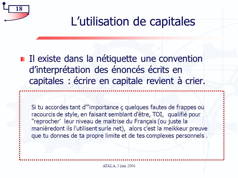 L'utilisation de capitales