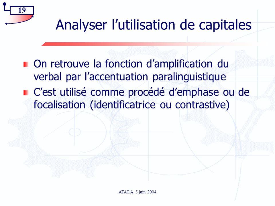 Analyser l'utilisation de capitales