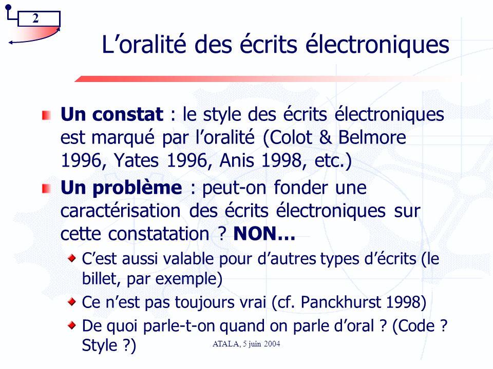 L'oralité des écrits électroniques