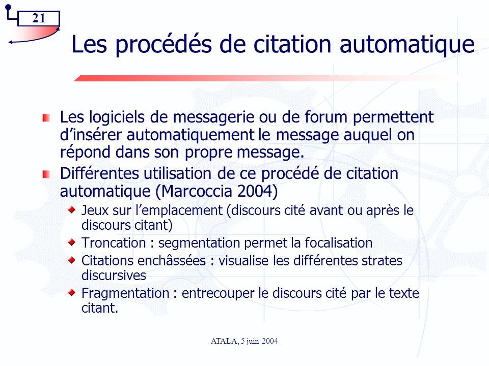 Les procédés de citation automatique