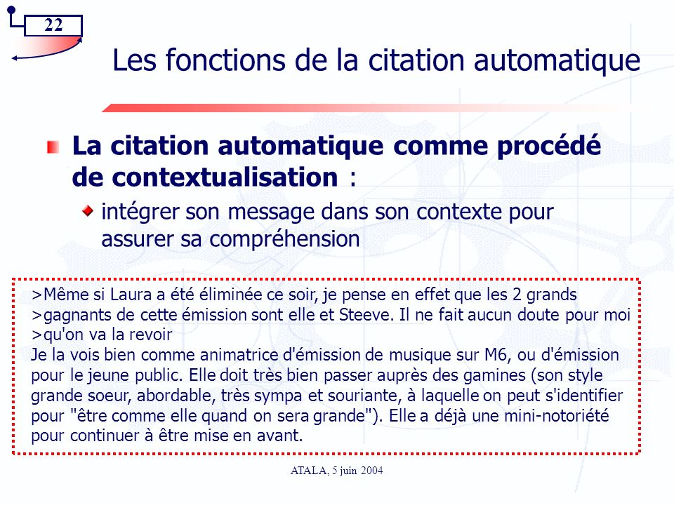 Les fonctions de la citation automatique