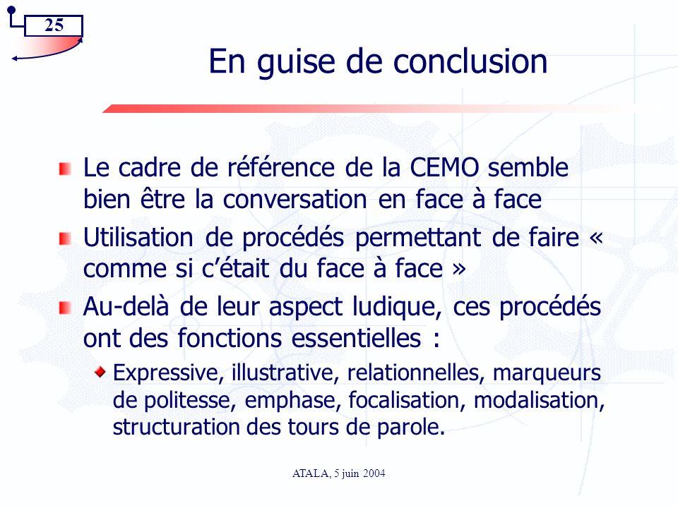 En guise de conclusion Le cadre de référence de la CEMO semble bien être la conversation en face à face.