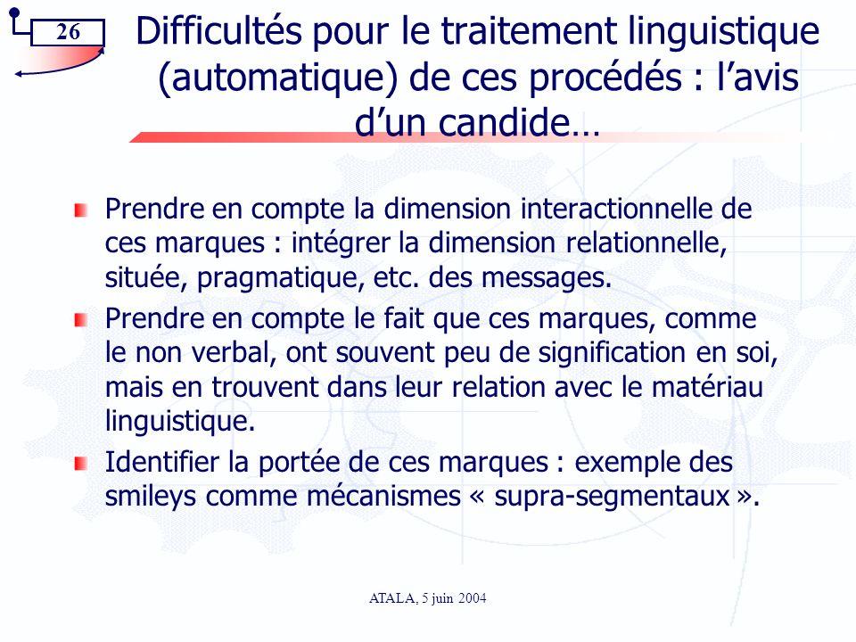 Difficultés pour le traitement linguistique (automatique) de ces procédés : l'avis d'un candide…