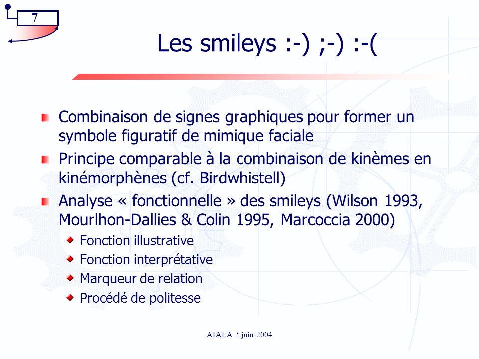 Les smileys :-) ;-) :-( Combinaison de signes graphiques pour former un symbole figuratif de mimique faciale.