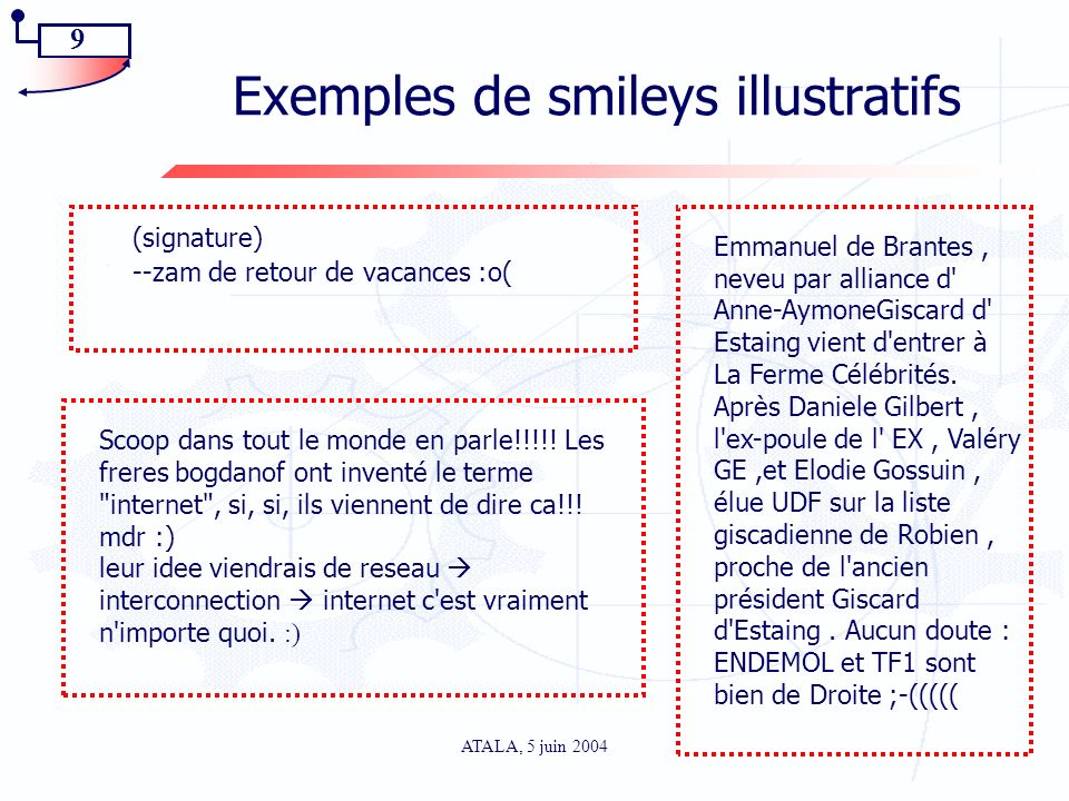 Exemples de smileys illustratifs