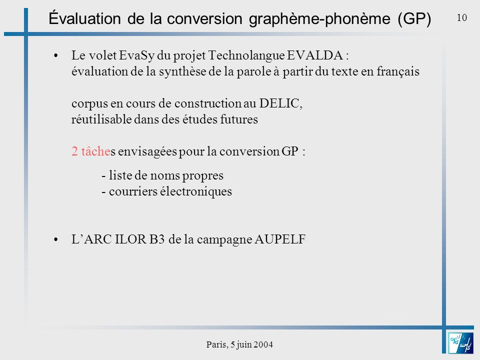 Évaluation de la conversion graphème-phonème (GP)