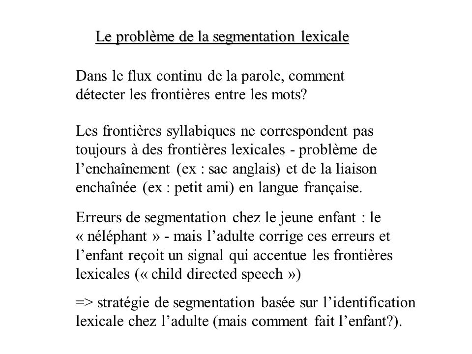 Le problème de la segmentation lexicale