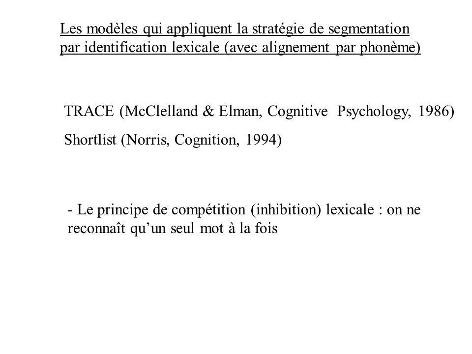 Les modèles qui appliquent la stratégie de segmentation par identification lexicale (avec alignement par phonème)