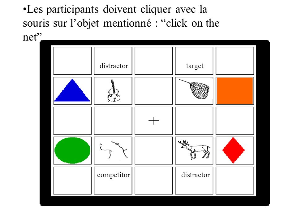 Les participants doivent cliquer avec la souris sur l'objet mentionné : click on the net