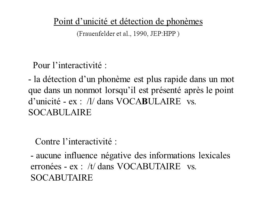 Point d'unicité et détection de phonèmes