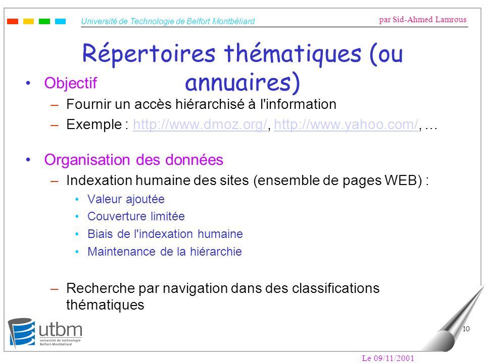 Répertoires thématiques (ou annuaires)