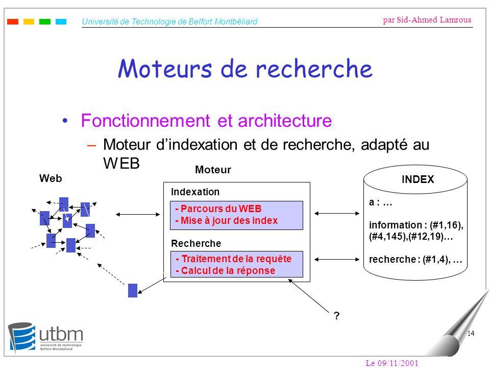 Moteurs de recherche Fonctionnement et architecture