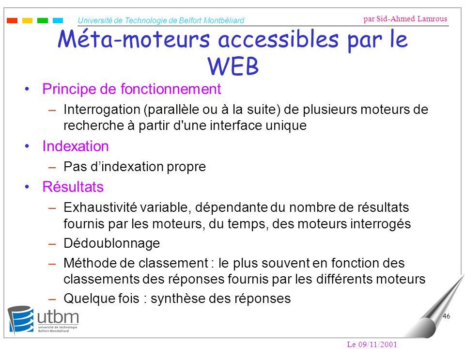 Méta-moteurs accessibles par le WEB