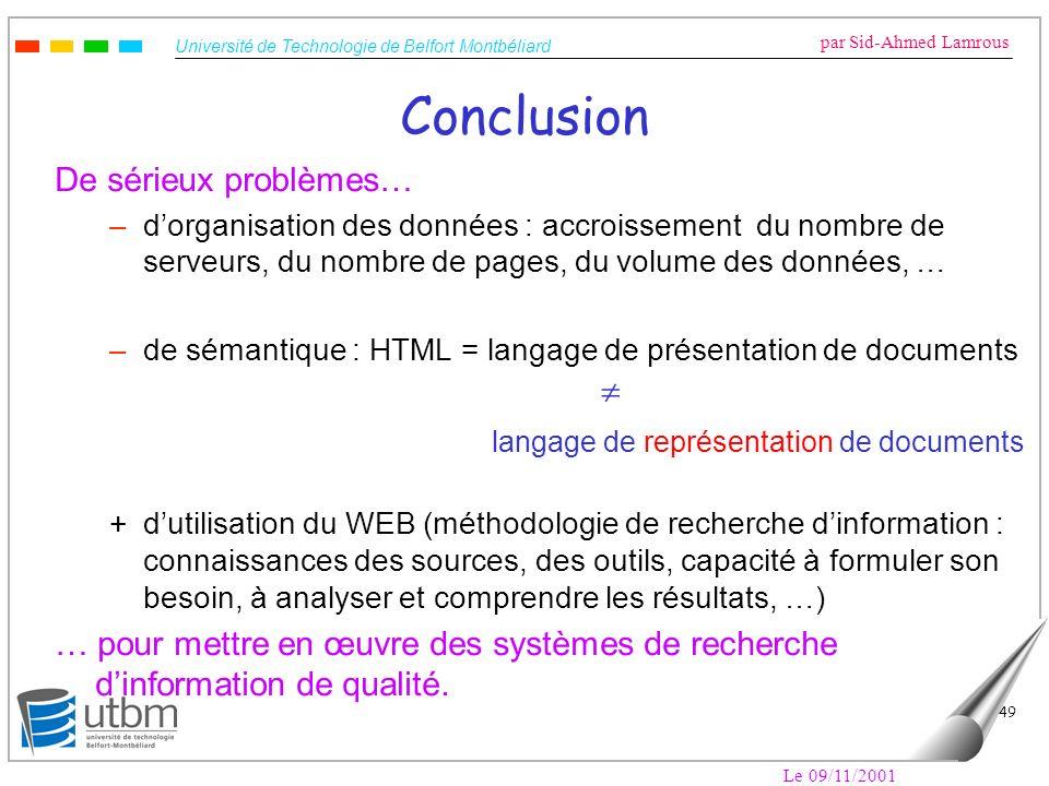 Conclusion langage de représentation de documents