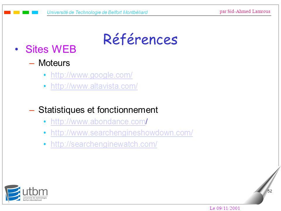 Références Sites WEB Moteurs Statistiques et fonctionnement