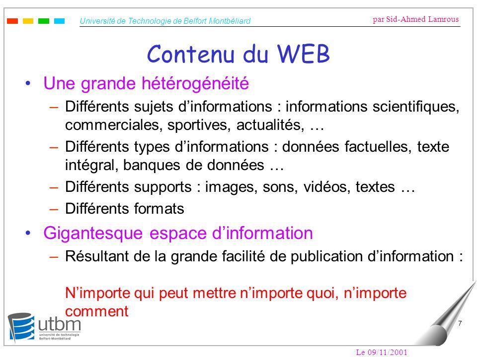 Contenu du WEB Une grande hétérogénéité