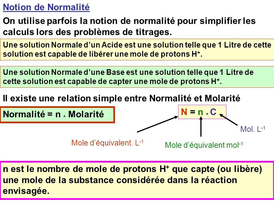Il existe une relation simple entre Normalité et Molarité