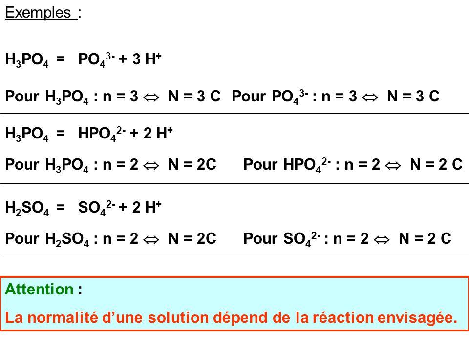 Exemples : H3PO4 = PO43- + 3 H+ Pour H3PO4 : n = 3  N = 3 C. Pour PO43- : n = 3  N = 3 C. H3PO4 = HPO42- + 2 H+