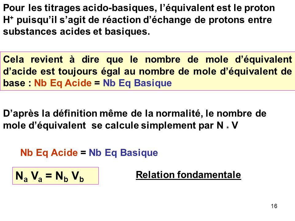 Pour les titrages acido-basiques, l'équivalent est le proton H+ puisqu'il s'agit de réaction d'échange de protons entre substances acides et basiques.