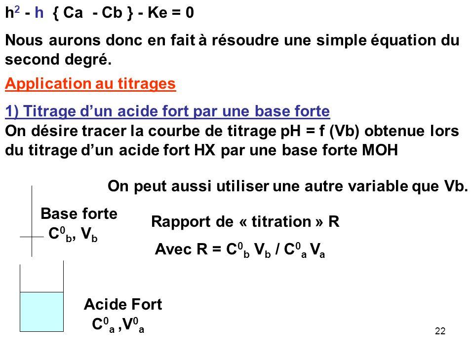 h2 - h { Ca - Cb } - Ke = 0 Nous aurons donc en fait à résoudre une simple équation du second degré.