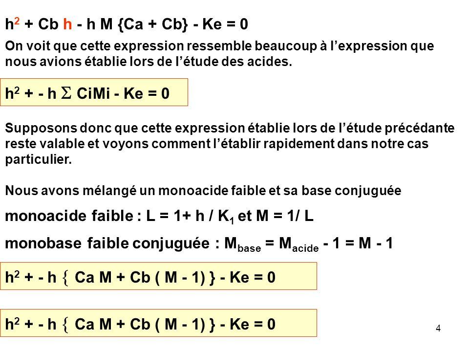 monoacide faible : L = 1+ h / K1 et M = 1/ L