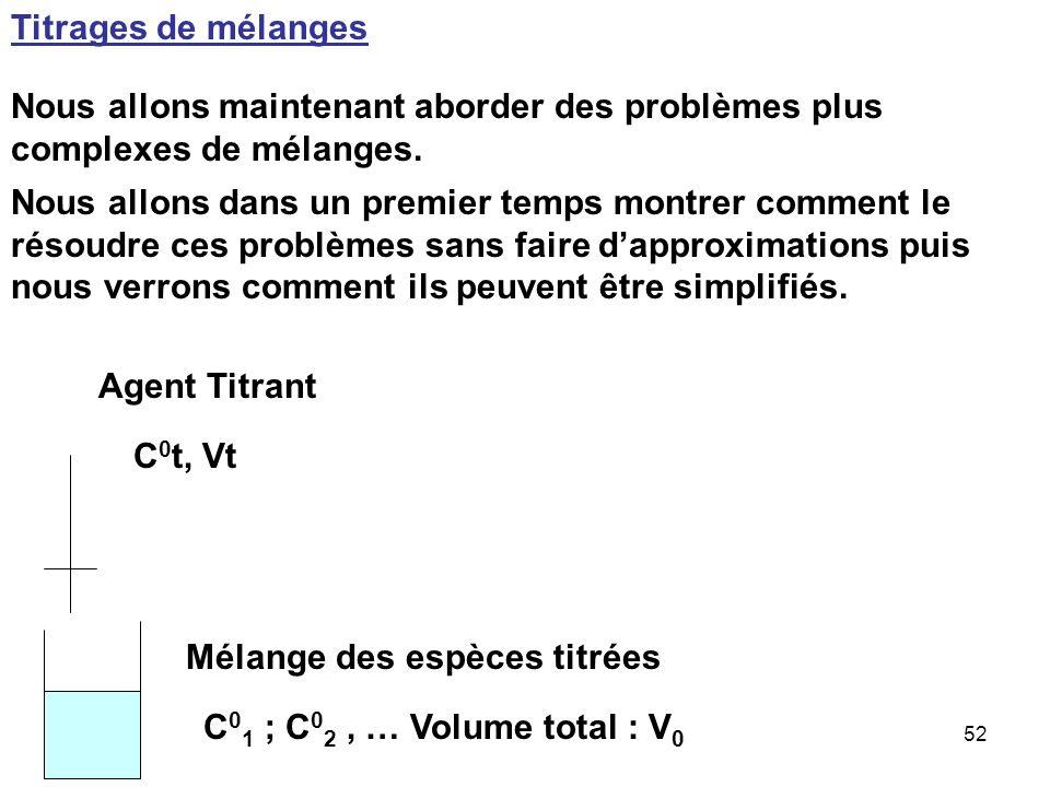 Titrages de mélanges Nous allons maintenant aborder des problèmes plus complexes de mélanges.