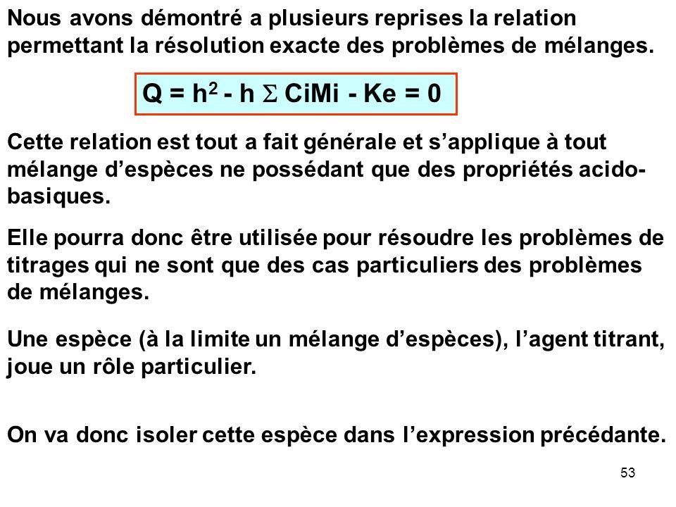 Nous avons démontré a plusieurs reprises la relation permettant la résolution exacte des problèmes de mélanges.