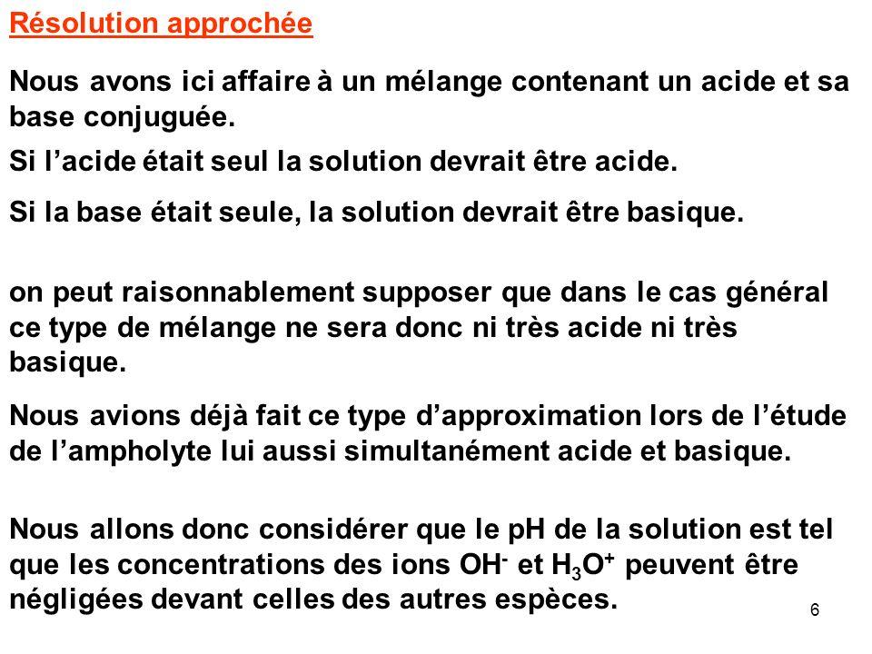Résolution approchée Nous avons ici affaire à un mélange contenant un acide et sa base conjuguée.