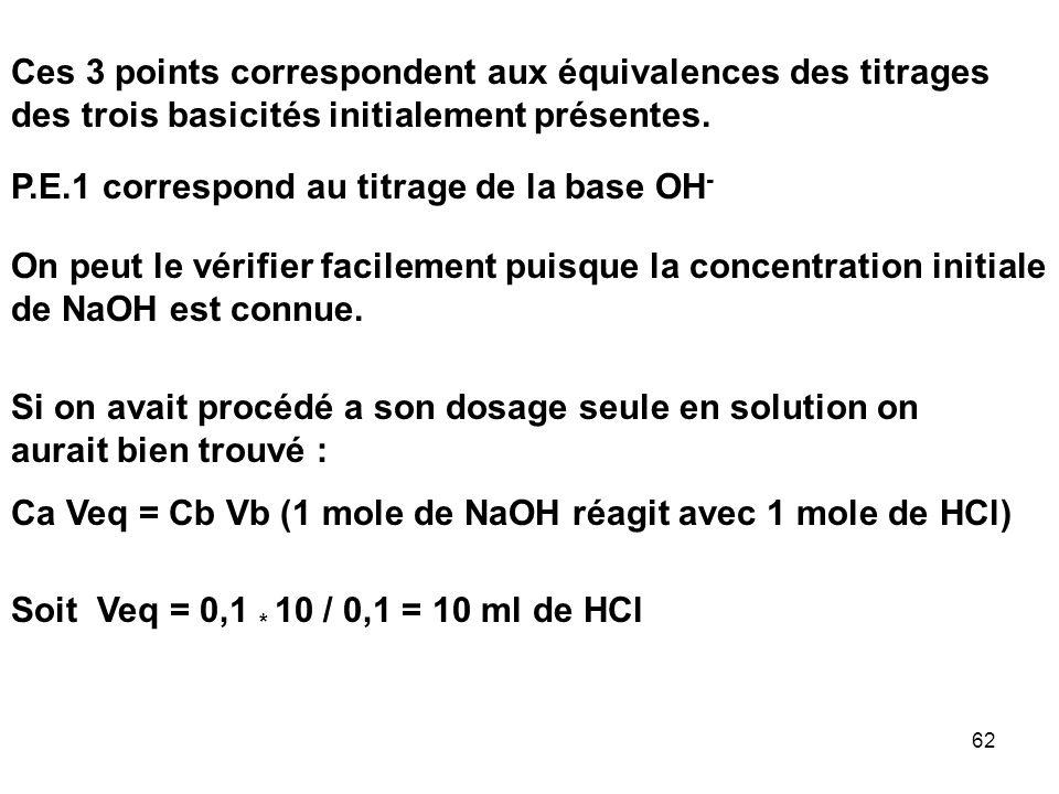 Ces 3 points correspondent aux équivalences des titrages des trois basicités initialement présentes.