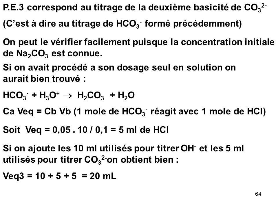 P.E.3 correspond au titrage de la deuxième basicité de CO32-