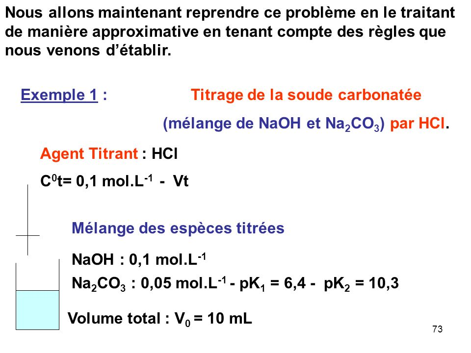 Titrage de la soude carbonatée (mélange de NaOH et Na2CO3) par HCl.