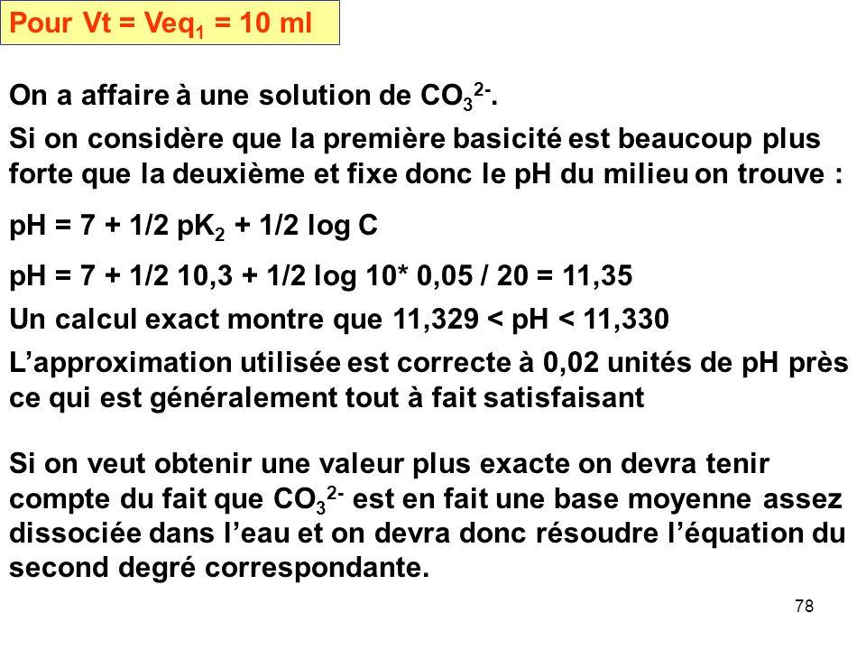 Pour Vt = Veq1 = 10 ml On a affaire à une solution de CO32-.