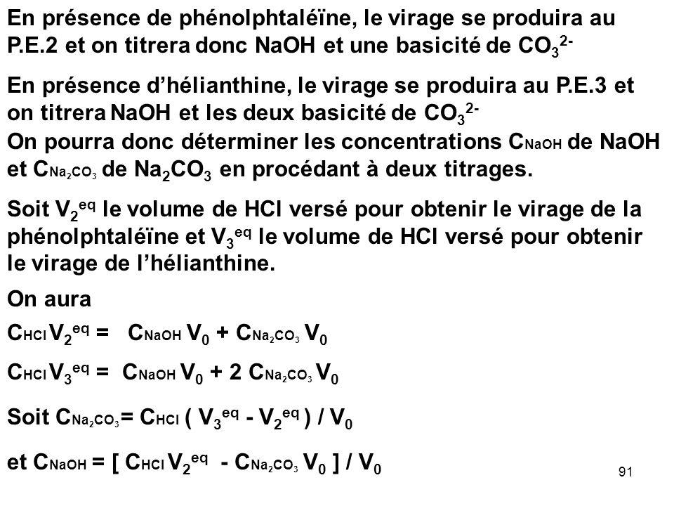 En présence de phénolphtaléïne, le virage se produira au P. E