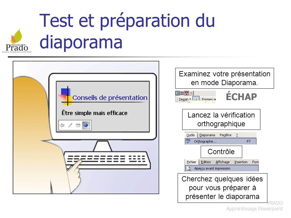Test et préparation du diaporama