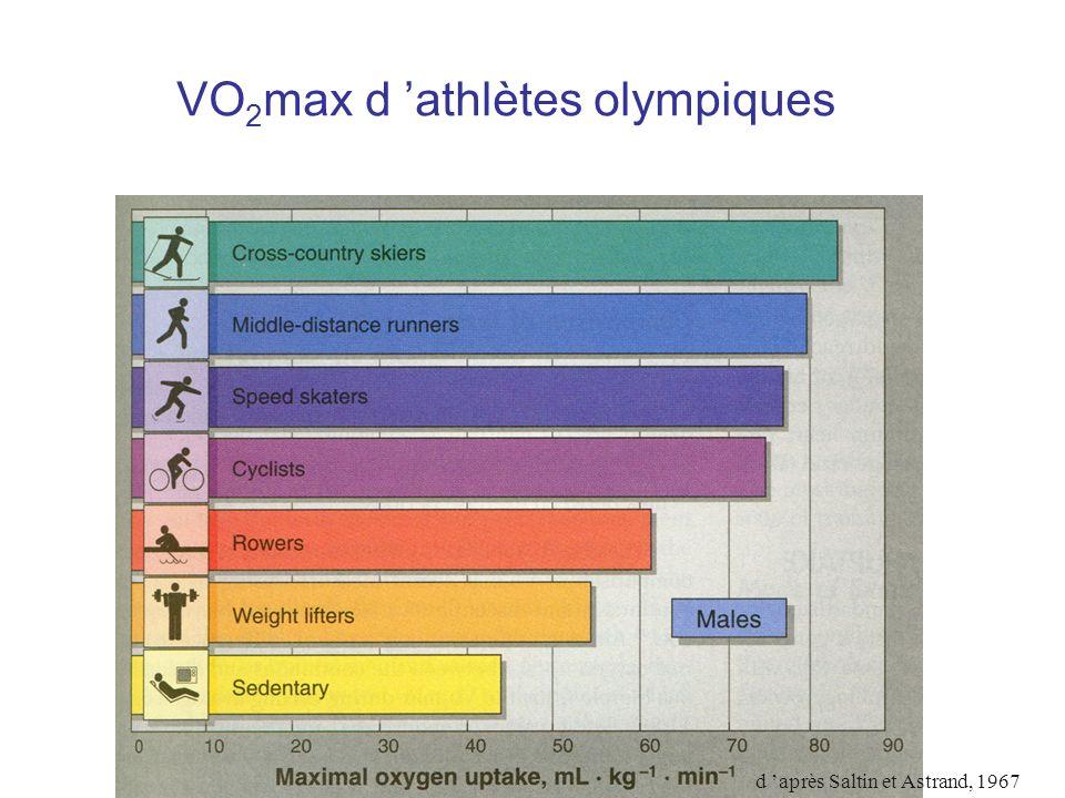 VO2max d 'athlètes olympiques