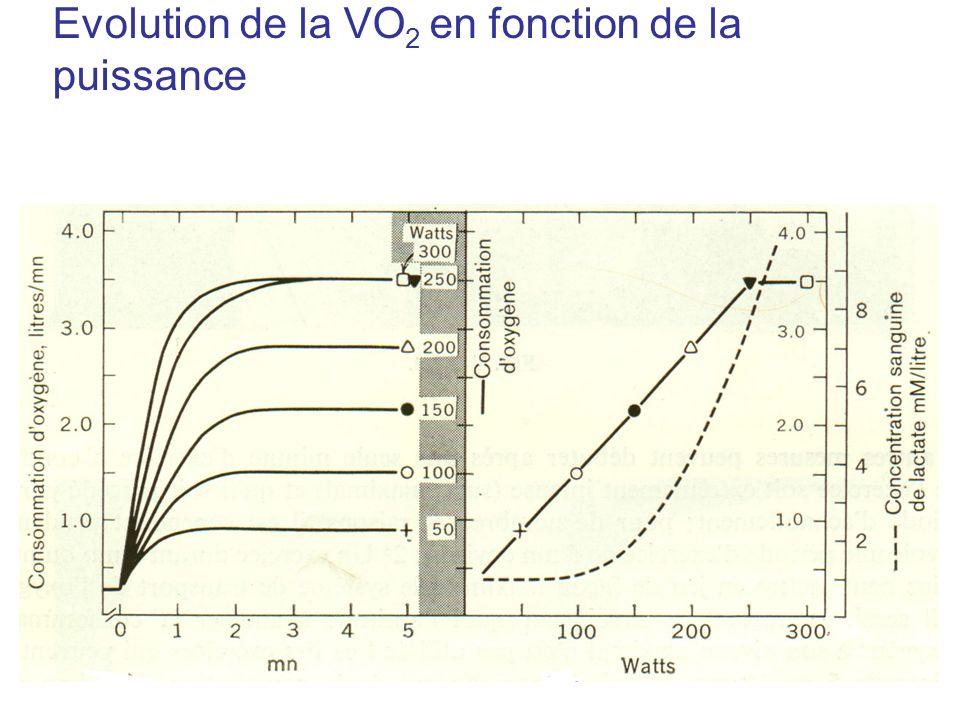 Evolution de la VO2 en fonction de la puissance