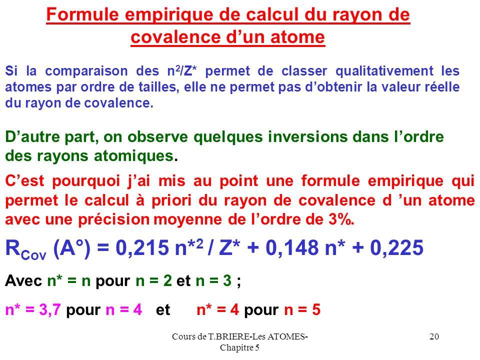 Formule empirique de calcul du rayon de covalence d'un atome