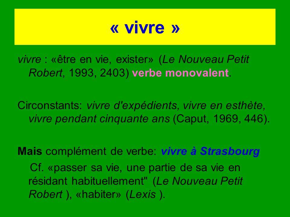 « vivre » vivre : «être en vie, exister» (Le Nouveau Petit Robert, 1993, 2403) verbe monovalent.