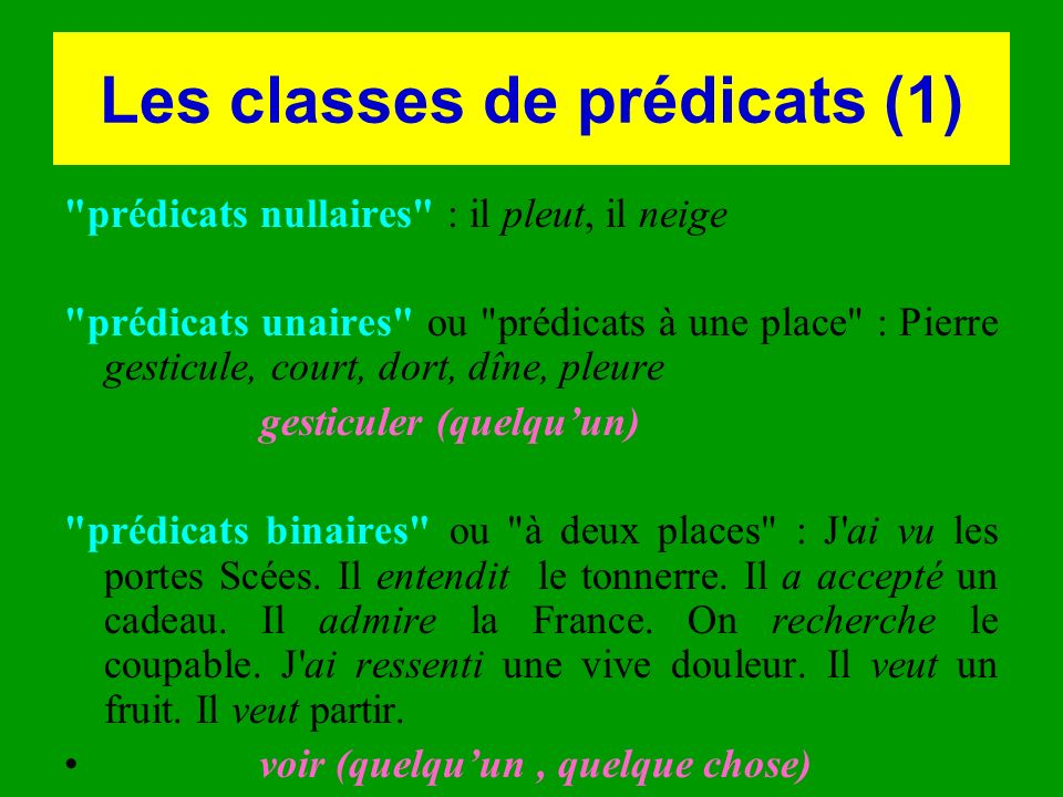 Les classes de prédicats (1)