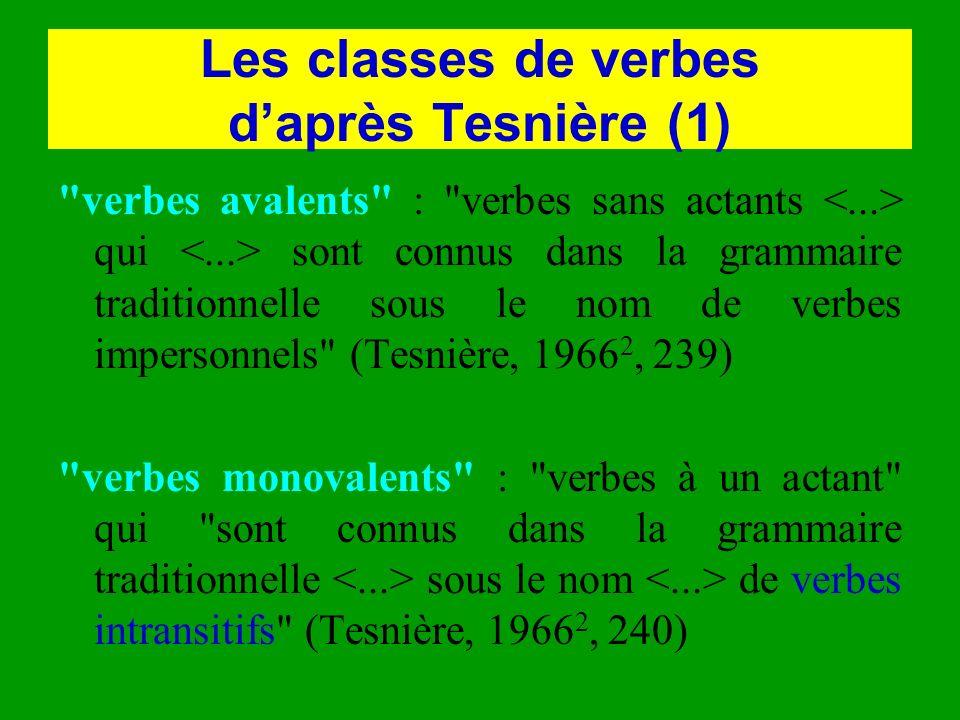 Les classes de verbes d'après Tesnière (1)