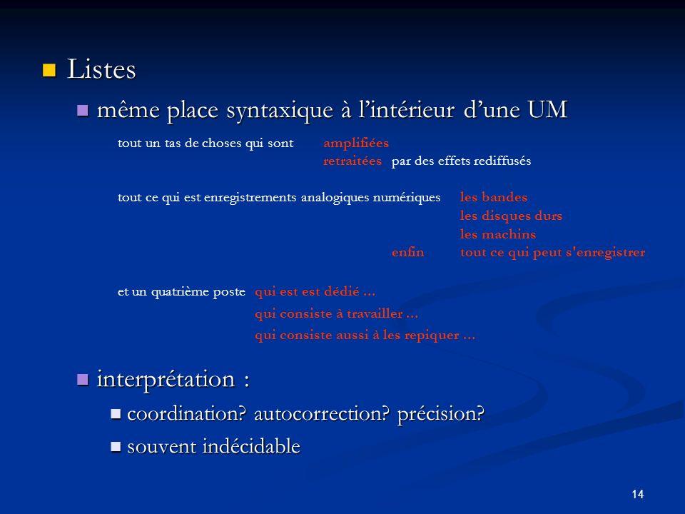 Listes même place syntaxique à l'intérieur d'une UM interprétation :