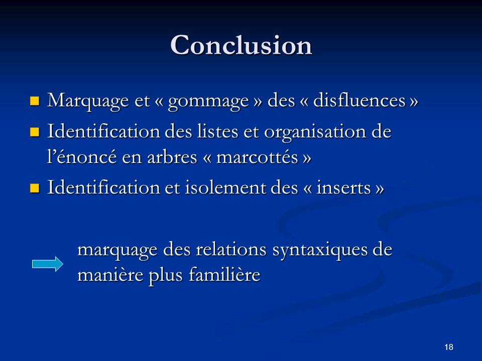 Conclusion Marquage et « gommage » des « disfluences »