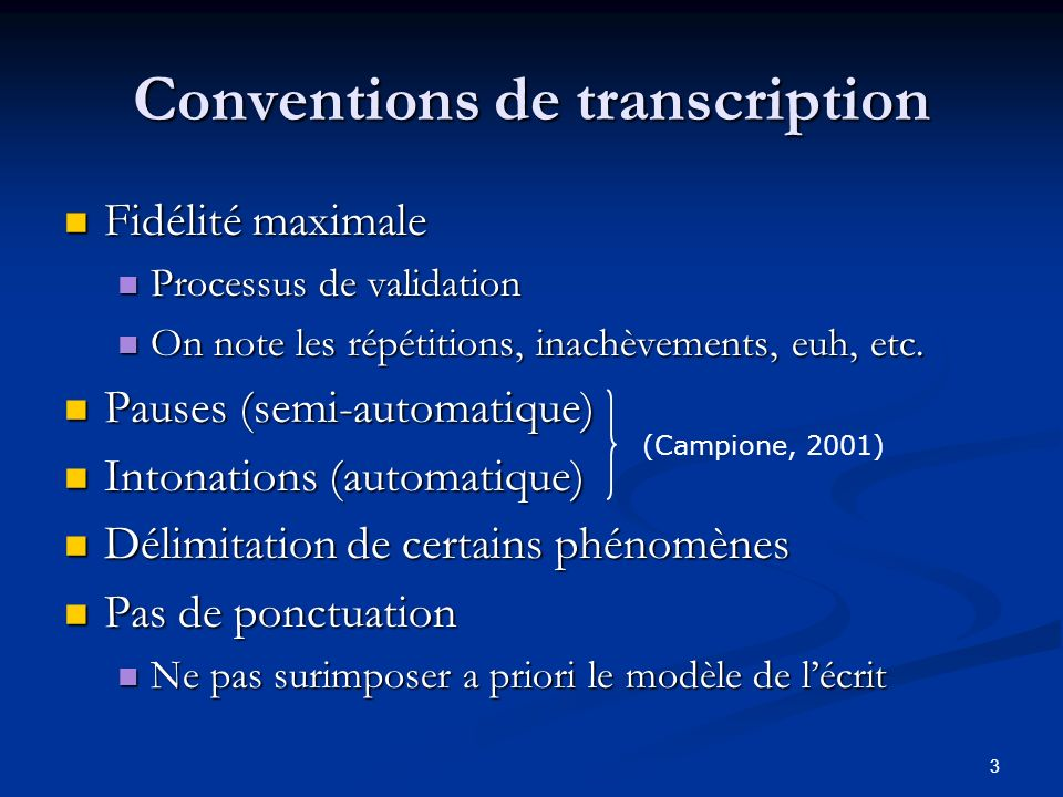 Conventions de transcription