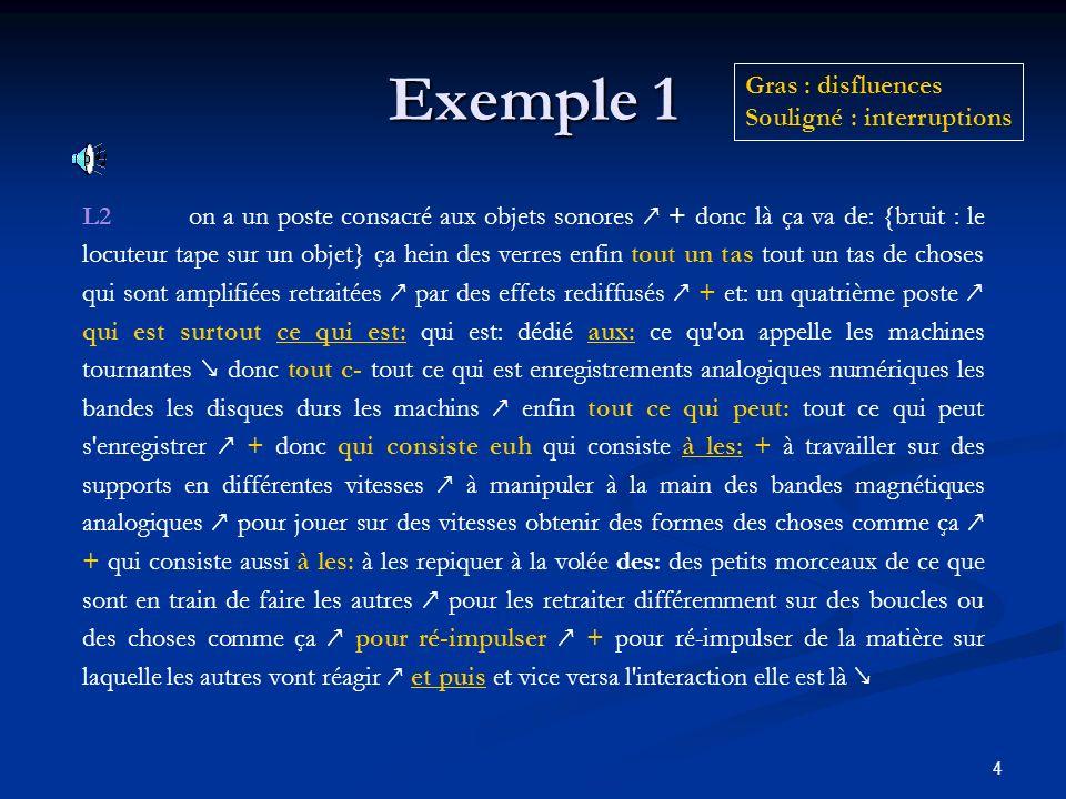 Exemple 1 Gras : disfluences Souligné : interruptions
