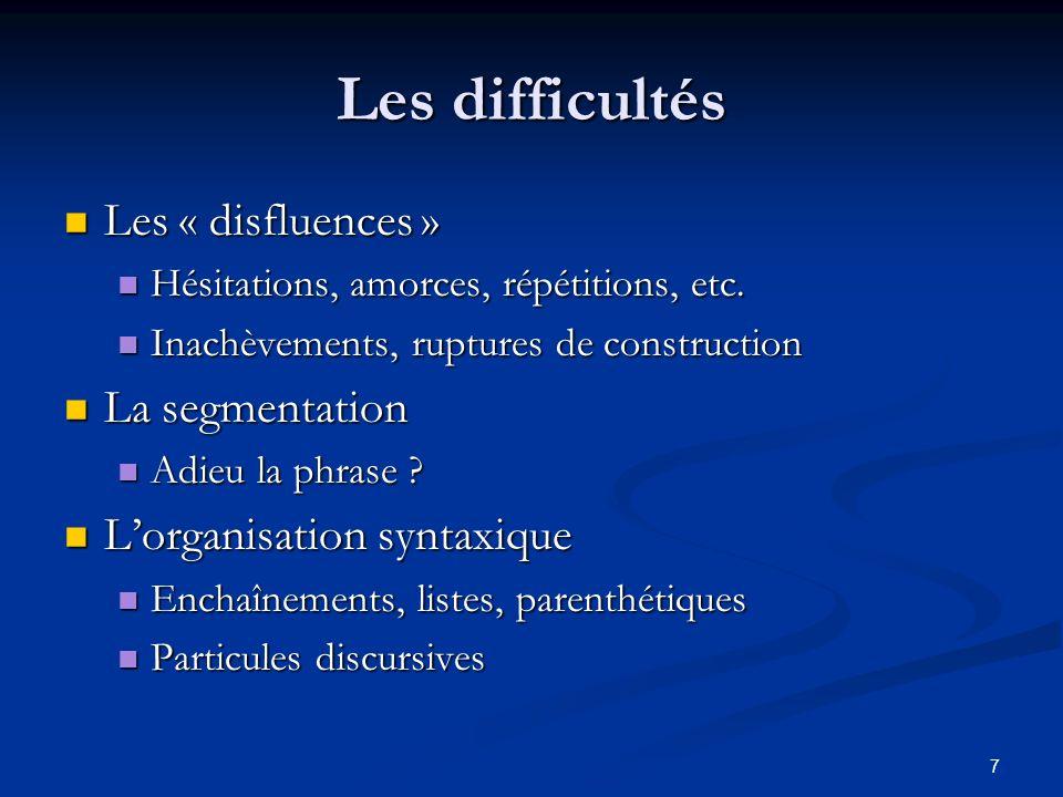 Les difficultés Les « disfluences » La segmentation