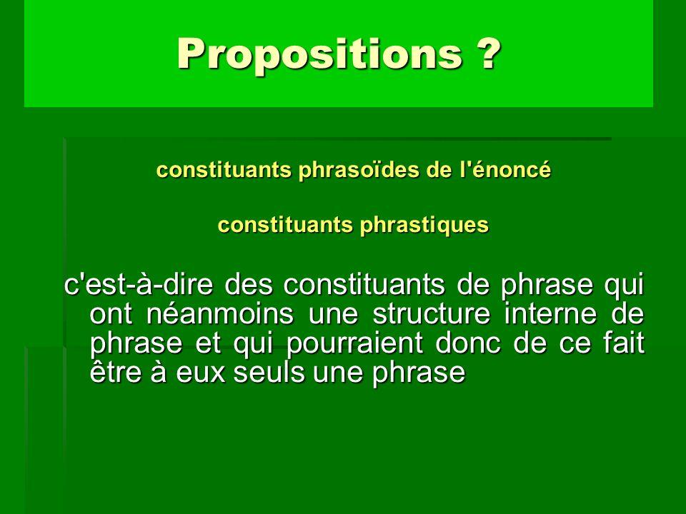 constituants phrasoïdes de l énoncé constituants phrastiques