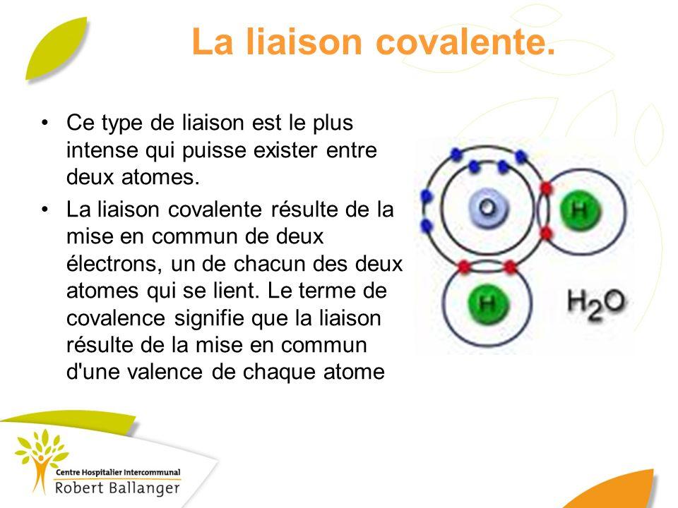 La liaison covalente. Ce type de liaison est le plus intense qui puisse exister entre deux atomes.